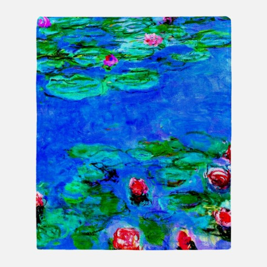 Monet - Water Lilies painting closeu Throw Blanket