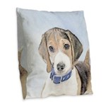 Beagle Burlap Throw Pillow