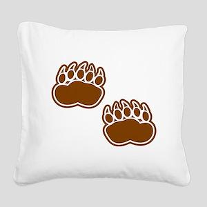 Bear Paw Prints Square Canvas Pillow