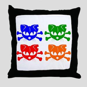 Cat And Crossbones Pop Art Throw Pillow