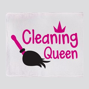 Pink cleaning queen with feather duster Throw Blan