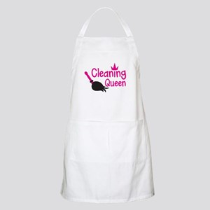 Pink cleaning queen with feather duster Apron