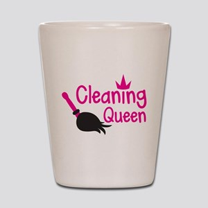 Pink cleaning queen with feather duster Shot Glass