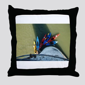 Kayaks from Above Throw Pillow