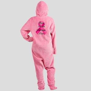 Pink Ribbon Footed Pajamas