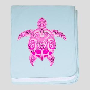 Pink Tribal Honu Turtle baby blanket