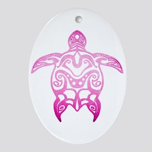 Pink Tribal Turtle Ornament (Oval)