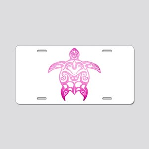 Pink Tribal Turtle Aluminum License Plate