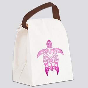 Pink Tribal Turtle Canvas Lunch Bag