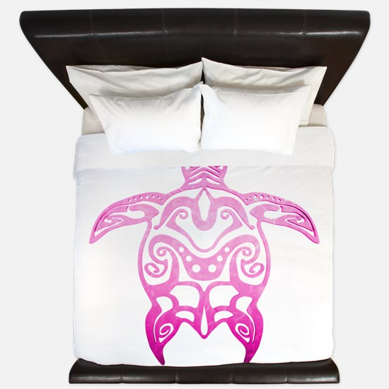 Pink Tribal Turtle King Duvet