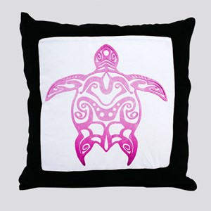 Pink Tribal Turtle Throw Pillow