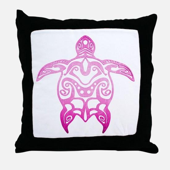 Pink Tribal Turtle Throw Pillow