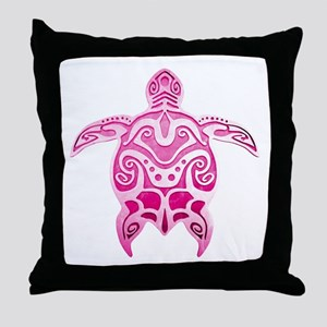 Pink Polynesian Turtle Throw Pillow