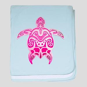 Pink Polynesian Turtle baby blanket