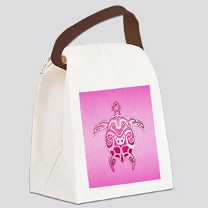 Pink Polynesian Turtle Canvas Lunch Bag