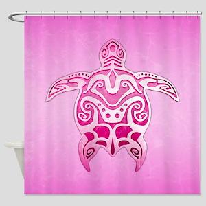 Pink Polynesian Turtle Shower Curtain