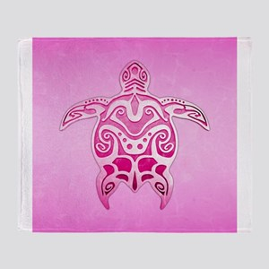 Pink Polynesian Turtle Throw Blanket