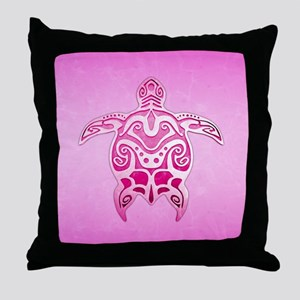 Pink Polynesian Turtle Throw Pillow