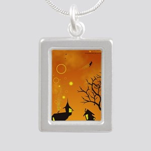 Halloween Tricks n Treat Silver Portrait Necklace