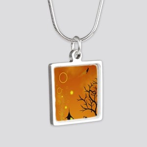 Halloween Tricks n Treats Silver Square Necklace