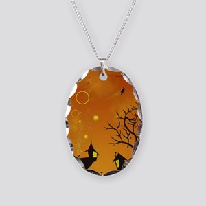 Halloween Tricks n Treats Necklace Oval Charm