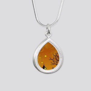 Halloween Tricks n Treat Silver Teardrop Necklace