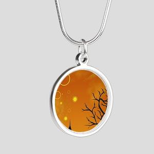 Halloween Tricks n Treats Silver Round Necklace