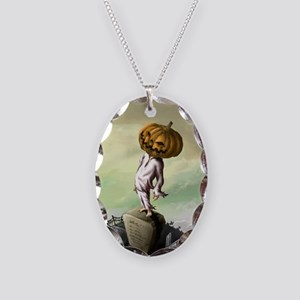 A M Pie Halloween Necklace Oval Charm