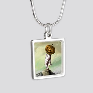 A M Pie Halloween Silver Square Necklace