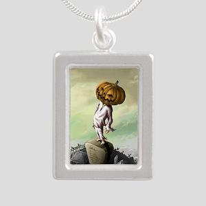 A M Pie Halloween Silver Portrait Necklace