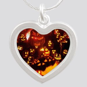 Many Faces Halloween Silver Heart Necklace