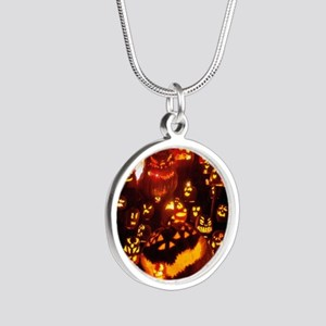 Many Faces Halloween Silver Round Necklace