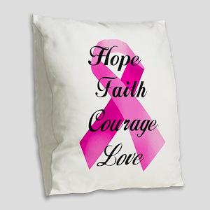 Pink Ribbon Burlap Throw Pillow