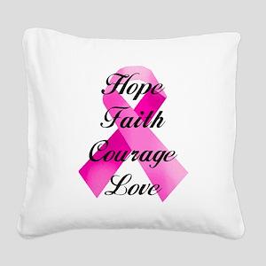 Pink Ribbon Square Canvas Pillow