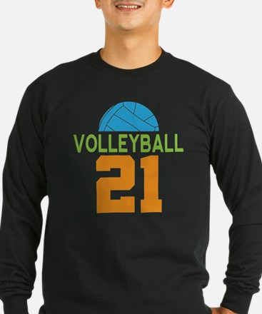 Volleyball Player Number 21 Long Sleeve T-Shirt