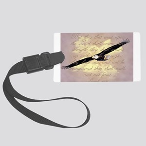 Wings as Eagles Bible Verse Large Luggage Tag