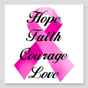 "Pink Ribbon Square Car Magnet 3"" x 3"""