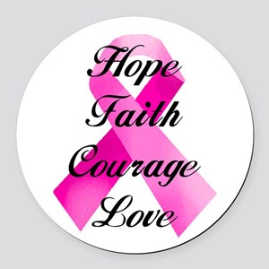Pink Ribbon Round Car Magnet