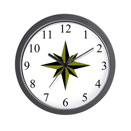 Wall Clock - Compass Rose - Antique