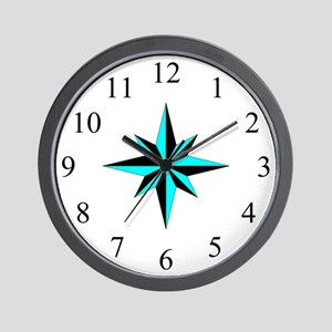 Wall Clock - Compass Rose - Cyan