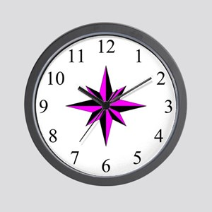 Wall Clock - Compass Rose - Magenta