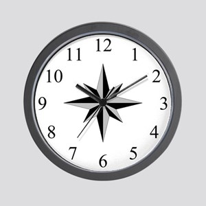 Wall Clock - Compass Rose - Silver