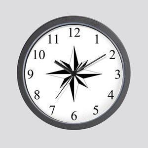 Wall Clock - Compass Rose - White