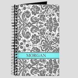 Aqua Grey Damask Custom Name Journal