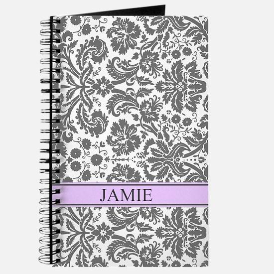 Purple Grey Damask Custom NameJournal
