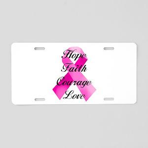 Pink Ribbon Aluminum License Plate