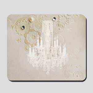 elegant chandelier floral paris Mousepad