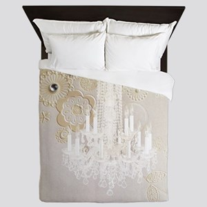 elegant chandelier floral paris Queen Duvet