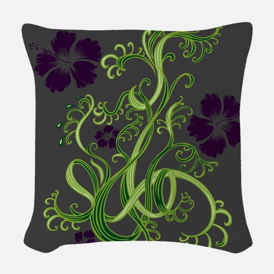 Purple Hibiscus on Dark Grey Woven Throw Pillow