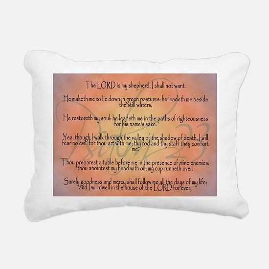 Psalm 23 Orange Script Rectangular Canvas Pillow